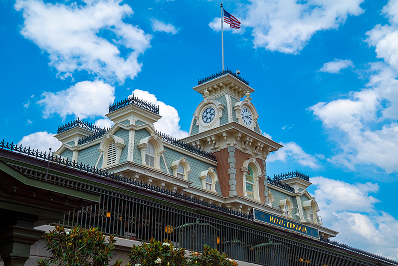 Magic Kingdom Train Station from Entrance of park